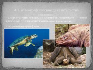 - распространение животных и растений по поверхности земли в различные геоло