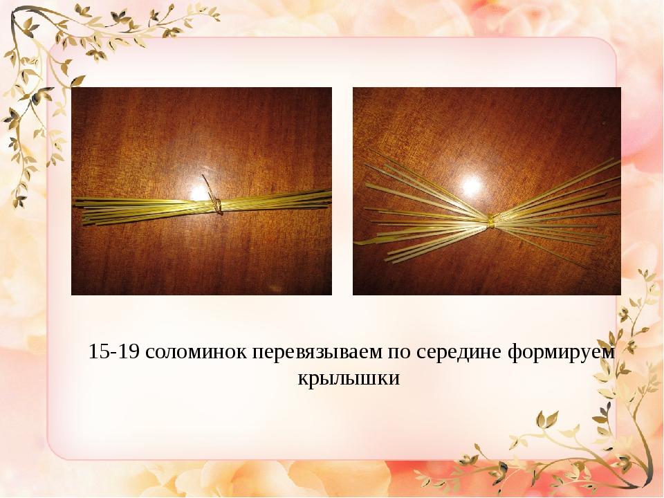 15-19 соломинок перевязываем по середине формируем крылышки
