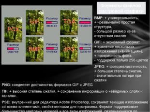 PNG: соединяет достоинства форматов GIF и JPEG TIF: + высокая степень сжатия