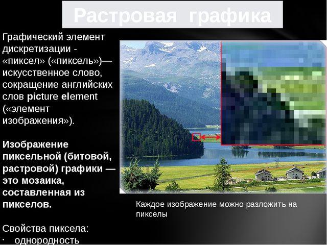 Графический элемент дискретизации - «пиксел»(«пиксель»)—искусственное слово,...