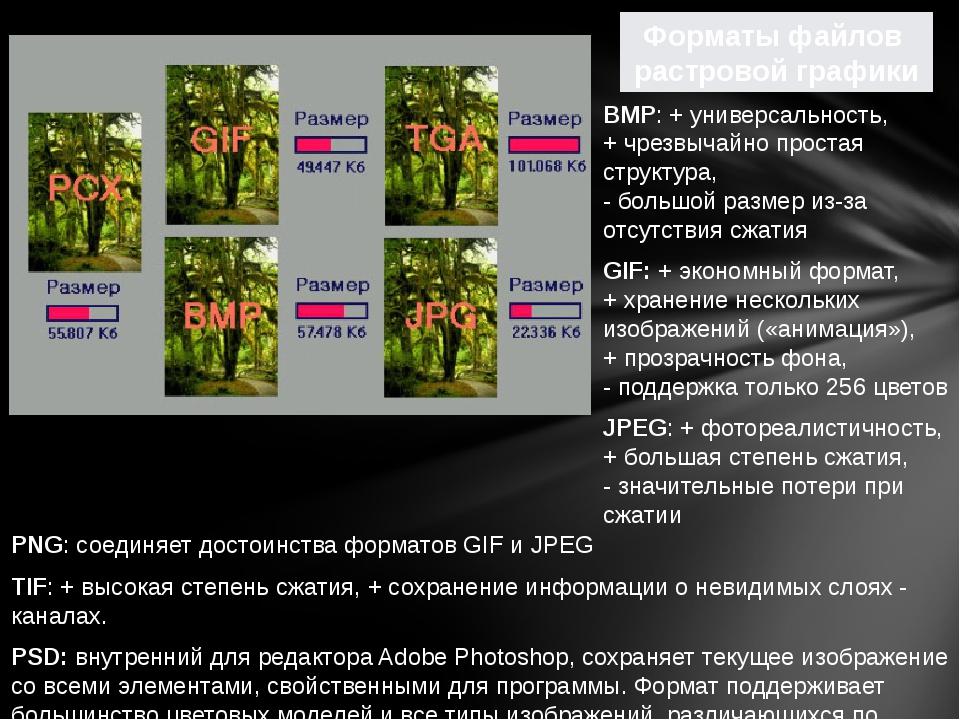 PNG: соединяет достоинства форматов GIF и JPEG TIF: + высокая степень сжатия...