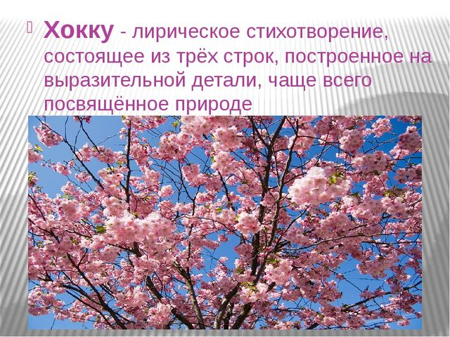 Хокку - лирическое стихотворение, состоящее из трёх строк, построенное на выр...