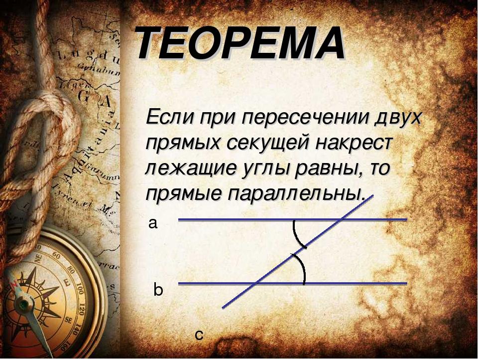 ТЕОРЕМА Если при пересечении двух прямых секущей накрест лежащие углы равны,...