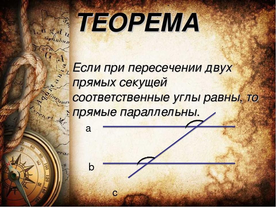 ТЕОРЕМА Если при пересечении двух прямых секущей соответственные углы равны,...