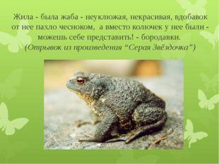 Жила - была жаба - неуклюжая, некрасивая, вдобавок от нее пахло чесноком, а в