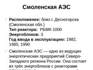 Смоленская АЭС Расположение:близ г. Десногорска (Смоленская обл.) Тип реакто