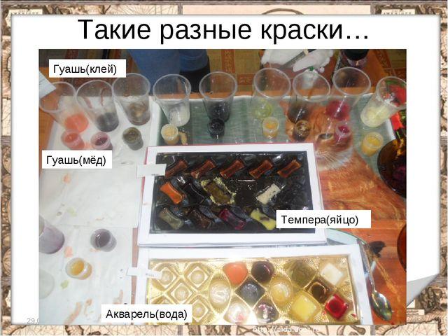 Такие разные краски… * * Темпера(яйцо) Гуашь(клей) Гуашь(мёд) Акварель(вода)