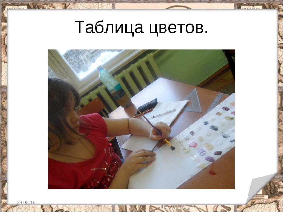 Таблица цветов. * *