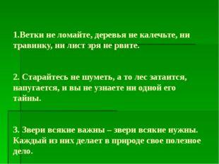 1.Ветки не ломайте, деревья не калечьте, ни травинку, ни лист зря не рвите.