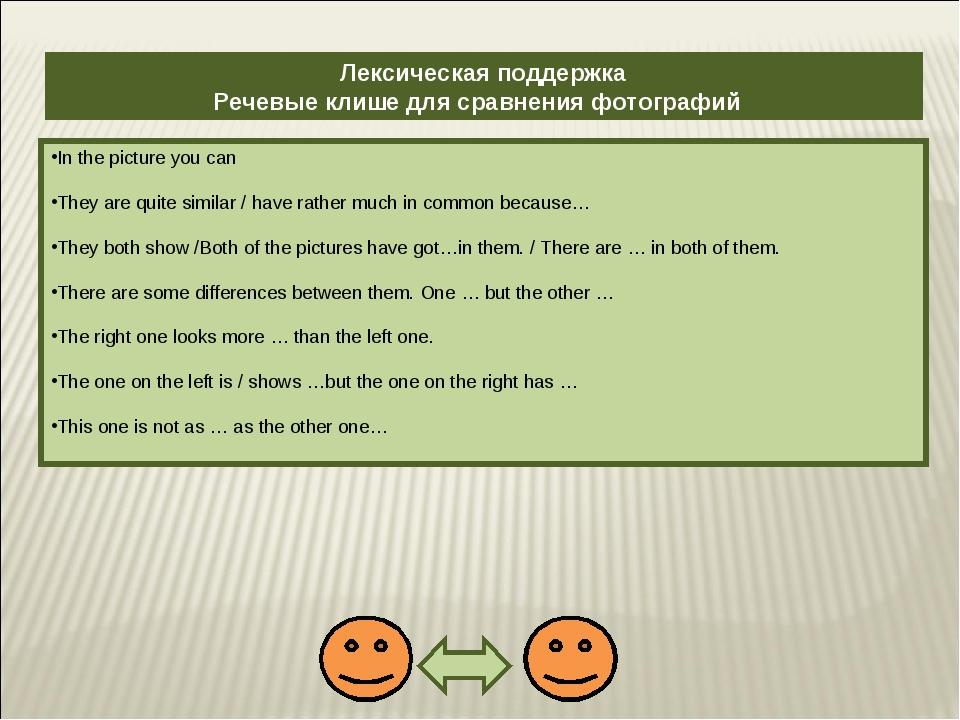 Лексическая поддержка Речевые клише для сравнения фотографий In the picture y...