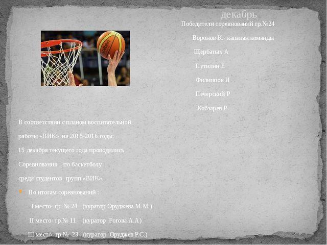 Победители соревнований гр.№24 Воронов К.- капитан команды Щербатых А Путили...