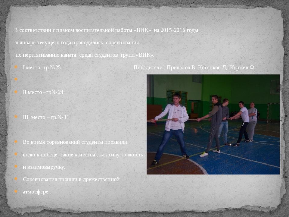 В соответствии с планом воспитательной работы «ВИК» на 2015-2016 годы, в янва...