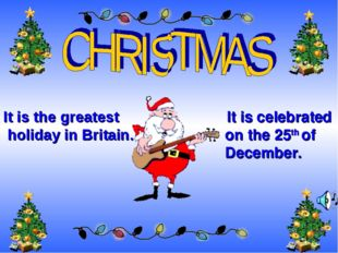 It is celebrated on the 25th of December. . It is the greatest holiday in Br