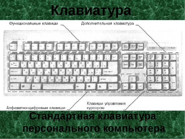 Клавиатура Стандартная клавиатура персонального компьютера