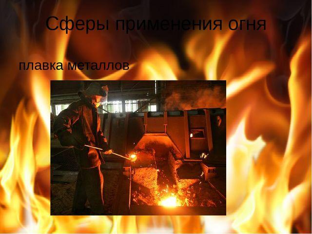 Сферы применения огня плавка металлов
