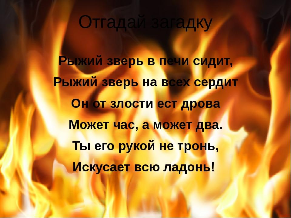 Отгадай загадку Рыжий зверь в печи сидит, Рыжий зверь на всех сердит Он от зл...