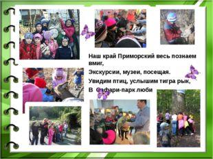 Наш край Приморский весь познаем вмиг, Экскурсии, музеи, посещая. Увидим птиц
