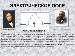 ЭЛЕКТРИЧЕСКОЕ ПОЛЕ Джеймс Кларк Максвелл Майкл Фарадей Особый вид материи Пос