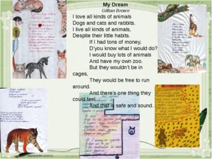 My Dream Gillian Brown I love all kinds of animals Dogs and cats and rabbits.
