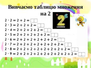 Вивчаємо таблицю множення на 2