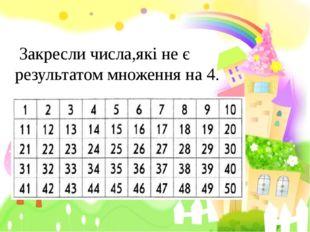 Закресли числа,які не є результатом множення на 4.
