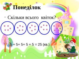 Понеділок Скільки всього квіток? 5 + 5+ 5+ 5 + 5 = 25 (кв.)