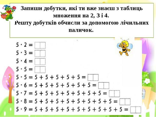 Запиши добутки, які ти вже знаєш з таблиць множення на 2, З і 4. Решту добутк...