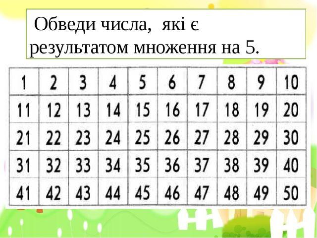 Обведи числа, які є результатом множення на 5.