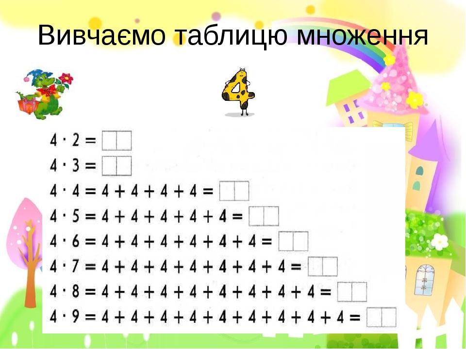 Вивчаємо таблицю множення