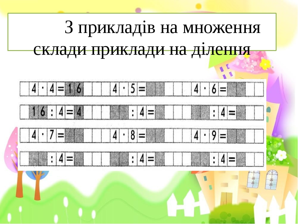 З прикладів на множення склади приклади на ділення