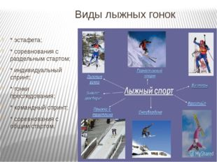Виды лыжных гонок * эстафета; * соревнования с раздельным стартом; * индивиду