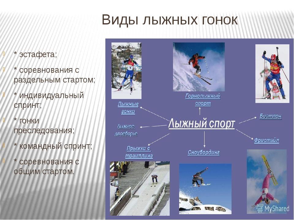 Виды лыжных гонок * эстафета; * соревнования с раздельным стартом; * индивиду...