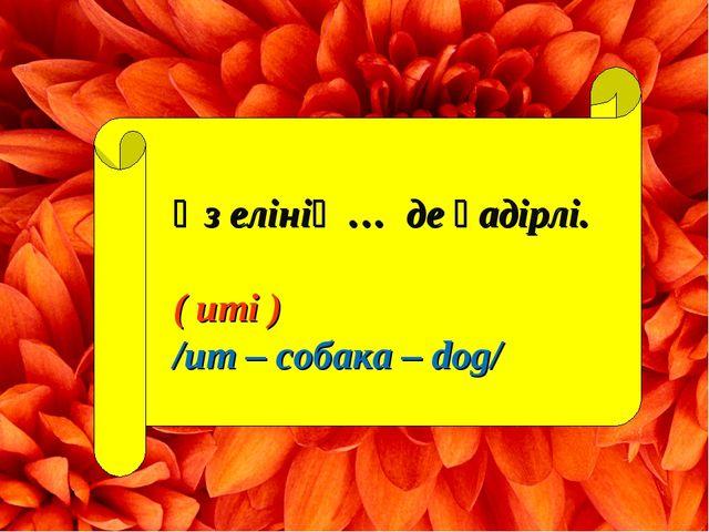 Өз елінің … де қадірлі. ( иті ) /ит – собака – dog/
