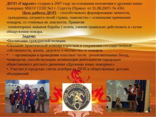 ДЮП «Гидрант» создана в 2007 году на основании положения о дружине юных пожар