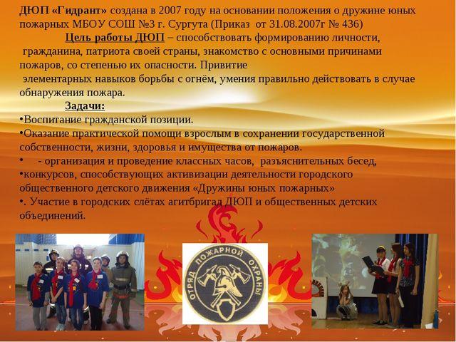 ДЮП «Гидрант» создана в 2007 году на основании положения о дружине юных пожар...