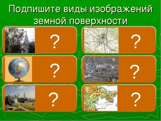 Подпишите виды изображений земной поверхности ? ? ? ? ? ?