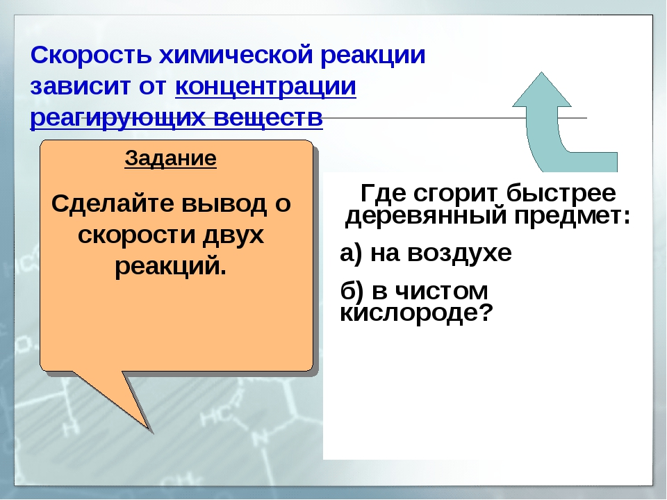 Скорость химической реакции зависит от концентрации реагирующих веществ Задан...
