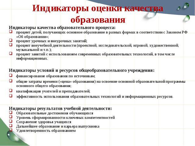 Индикаторы оценки качества образования Индикаторы качества образовательного п...