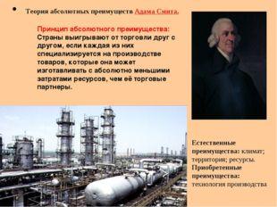 Теория абсолютных преимуществ Адама Смита. Естественные преимущества: климат