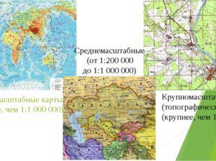 Мелкомасштабные карты (мельче, чем 1:1 000 000) Крупномасштабные (топографиче