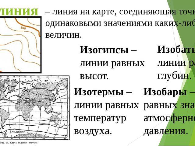 Изолиния – линия на карте, соединяющая точки с одинаковыми значениями каких-л...