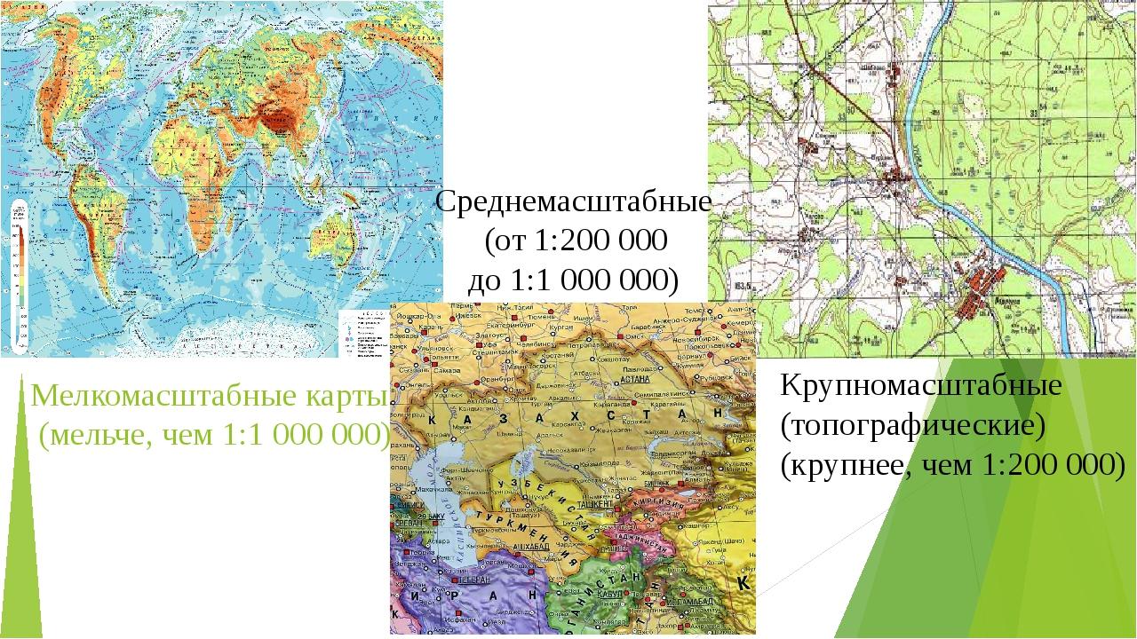 Мелкомасштабные карты (мельче, чем 1:1 000 000) Крупномасштабные (топографиче...