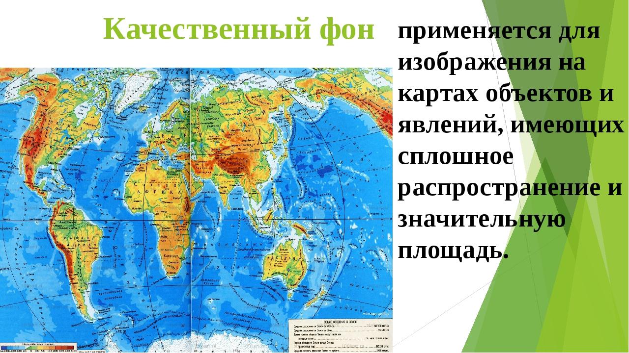 Качественный фон применяется для изображения на картах объектов и явлений, им...