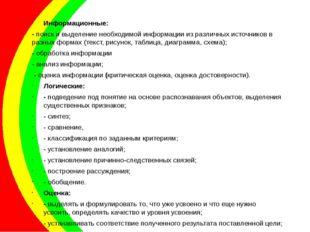 Информационные: - поиск и выделение необходимой информации из различных источ