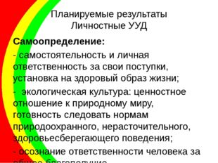 Планируемые результаты Личностные УУД Самоопределение: - самостоятельность и