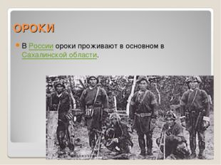 ОРОКИ В России ороки проживают в основном в Сахалинской области.