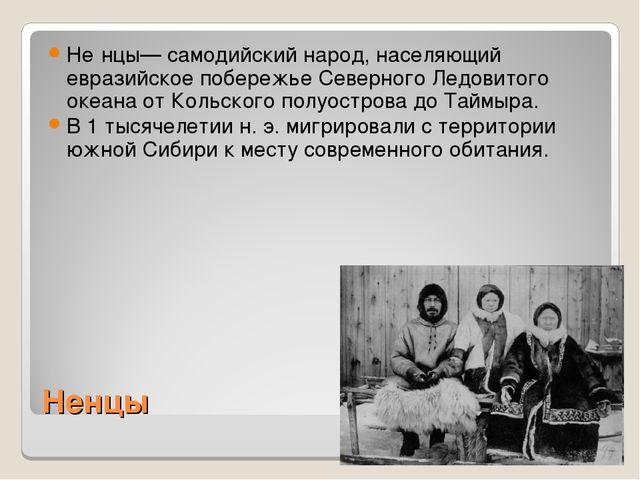 Ненцы Не́нцы— самодийский народ, населяющий евразийское побережье Северного Л...