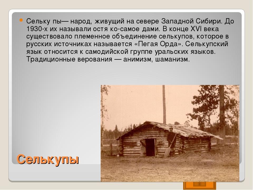 Селькупы Сельку́пы— народ, живущий на севере Западной Сибири. До 1930-х их на...