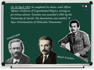On 30 April 1905, he completed his thesis, with Alfred Kleiner, Professor of