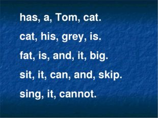 has, a, Tom, cat. cat, his, grey, is. fat, is, and, it, big. sit, it, can, an